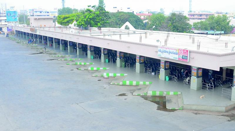 The bus depot in Kurnool wears a deserted look as there was a state wide bandh call on Thursday.