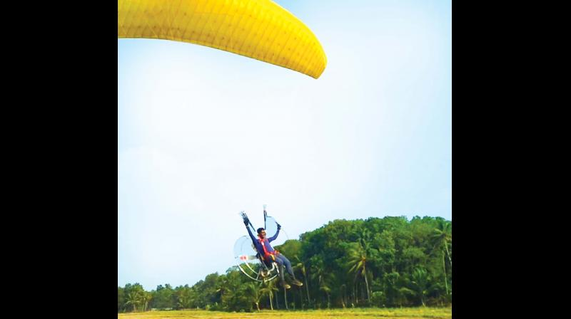 Anand, who holds a diploma in Aircraft Manufacturing Engineering, got famous when he flew a paramotor at Malanada, Kollam, recently.