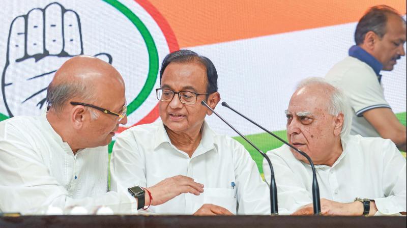 P. Chidambaram at AICC meeting on Wednesday. (Photo: PTI)