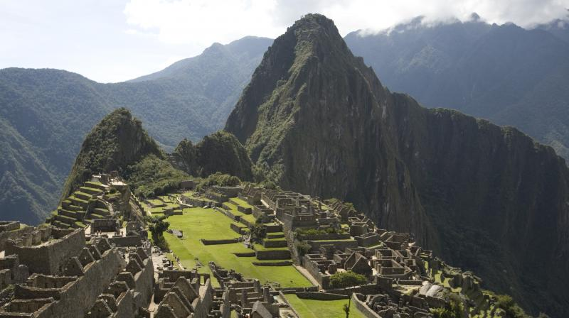 A bird's-eye view of Machu Pichu in Peru.