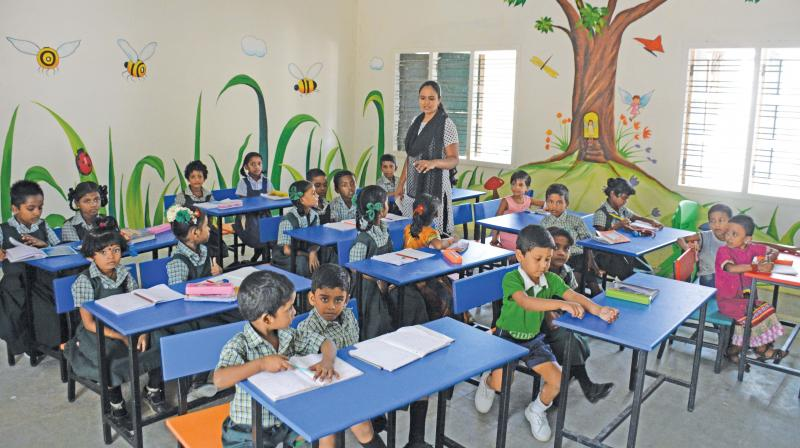 Presidency girls higher secondary school at Egmore gets colourful wall paintings in classrooms. (Photo: DC)