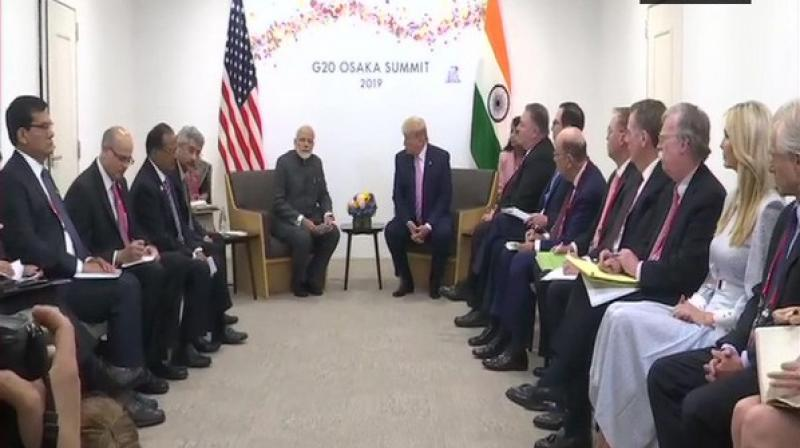 The Prime Minister initiated the meeting with the US President with expressing his gratitude over the latter's congratulatory remarks on securing a landslide victory in the recently held general elections in India. (Photo: ANI)