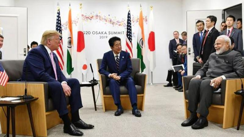 The trilateral meeting between the leaders was the second Japan-America-India or JAI meeting. (Photo: PIB India | Twitter)