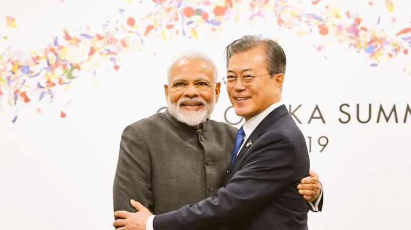 During their meeting, the two leaders expressed mutual desire to synergise India's Act East Policy with South Korea's New Southern Policy. (Photo: Twitter | Raveesh Kumar)