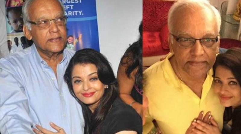 Krishnaraj Rai with daughter Aishwarya.