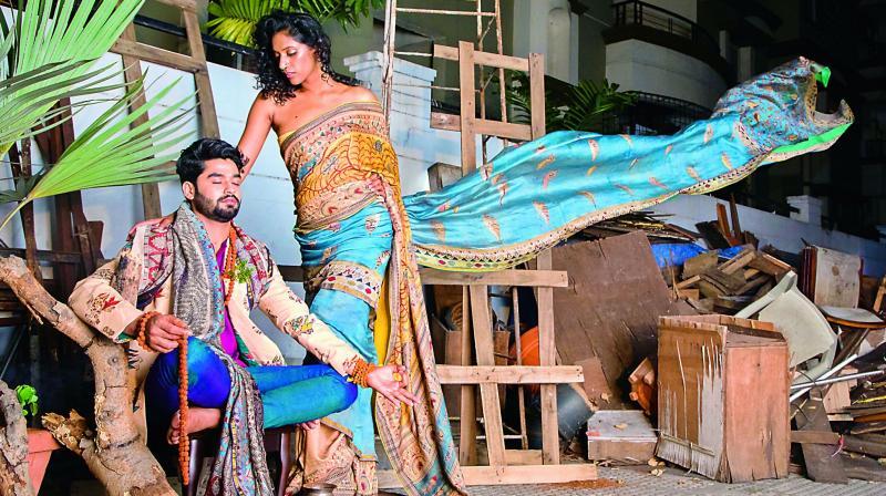 Designer Shravan Kumar's work depicting the mythological tale of Vishwamitra and Menaka