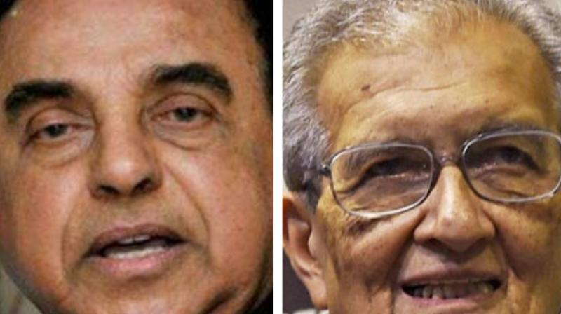 'NDA gave Bharat Ratna to Amartya Sen (R), who is a traitor. What has he done for the country except for looting Nalanda University?' Swamy (L) said. (Photo: PTI)