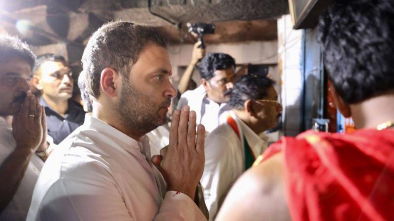 'I like going to temples, wherever I get a religious place I go there. I feel good and feel happy, and I will continue (to go),' Rahul Gandhi told reporters. (Photo: Twitter | @INCIndia)