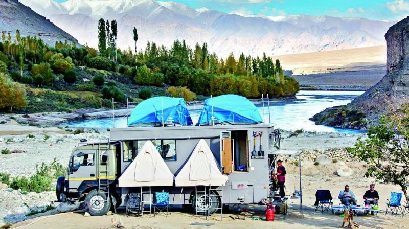 The Luxury Overland Taurus Truck parked at Spiti Valley.