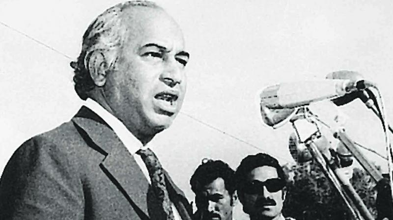 Zulfikar Ali Bhutto addressing a gathering in Karachi. (Photo: Dawn)