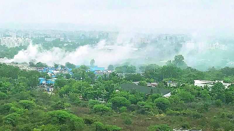 Toxic air pollution in the area around Shilparamam