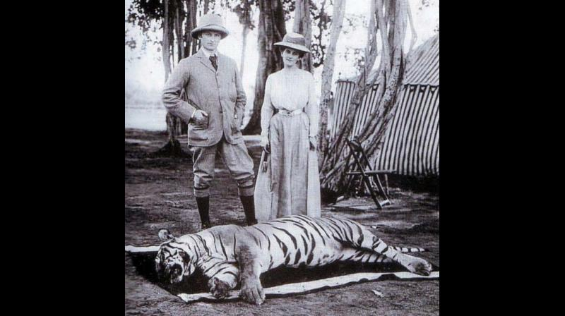 Lord Curzon and his wife Mary Curzon on a tiger hunt in 1902.