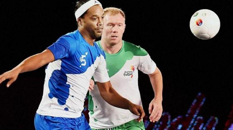Ronaldinho returned to his homeland as 'Brand Ambassador' for the Paralympic Games in Rio de Janeiro after scoring five goals on his debut for the Goa franchise against Paul Scholes's Bangalore 5's. (Photo: PTI)
