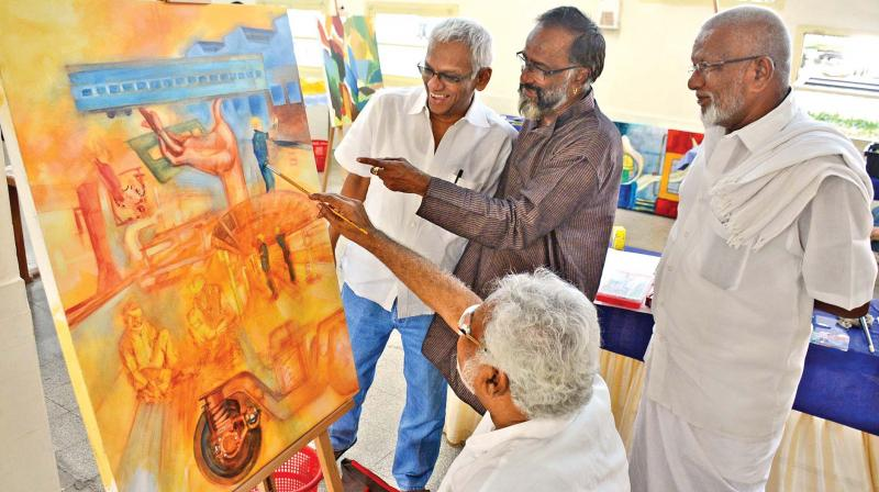 Renowned artists , Manian Selvam, R.M. Palaniappan, M. Trotsky Marudu, K. Muralidharan and G. Chandrasekar, take part in the art camp organized by Integral Coach Factory at Chennai Rail Museum on Sunday.