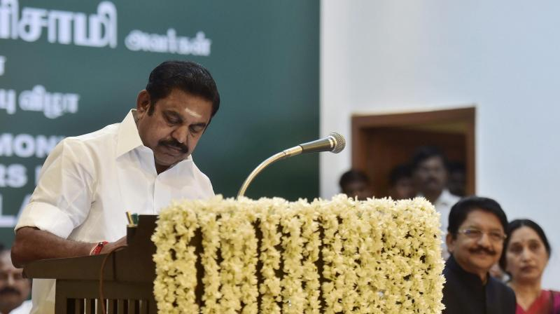 Chief Minister Edappadi K Palanisamy after taking the oath of secrecy administered by Governor CH Vidyasagar Rao during the swearing-in ceremony at Raj Bhavan in Chennai. (Photo: PTI)