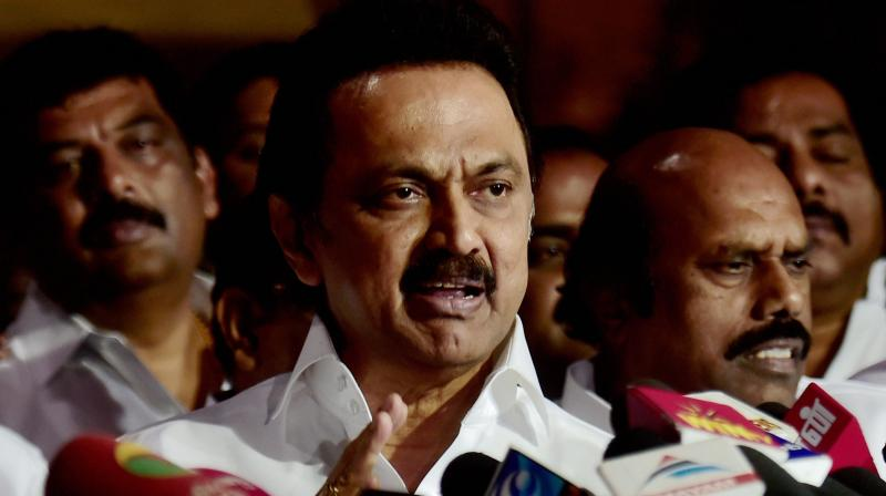 DMK Working President MK Stalin addressing a press conference at the party office after a meeting in Chennai. (Photo: PTI)