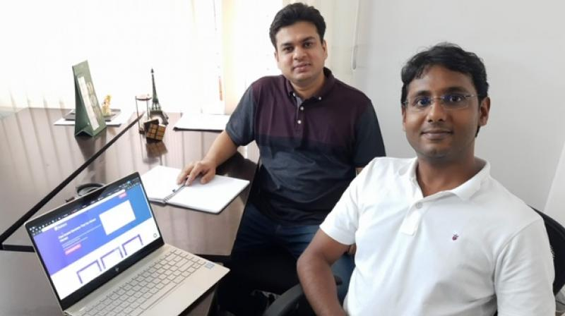 Naman Sarawagi (back) and Mohit Jain (front) say the idea for their start-up came from being freelance consultants to various businesses.