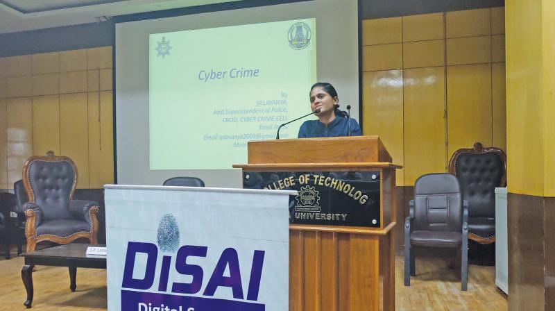 S.P. Lavanya speaking at the seminar.