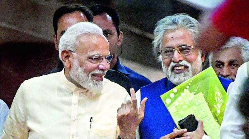 Prime Minister Narendra Modi along with Trinamul leader Sudip Bandyopadhyay after the all-party meeting in New Delhi on Sunday.(Photo: AP)
