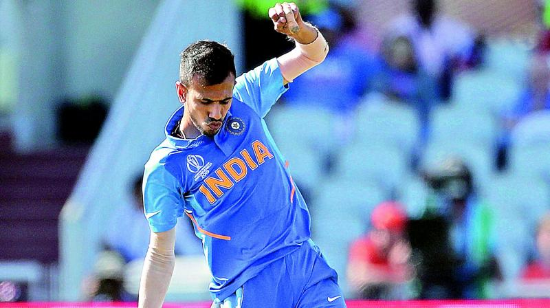 Yuzvendra Chahal after taking a West Indian wicket on Thursday. (Photo: AP)