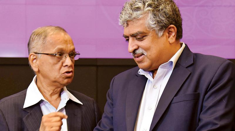 Infosys founders N.R. Narayana Murthy and Nandan Nilekani in Bengaluru on Wednesday.