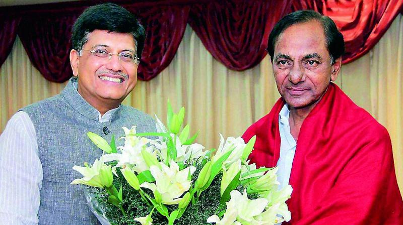 Telangana Chief Minister K. Chandrasekhar Rao (right) meets power minister Piyush Goyal in New Delhi on Sunday to seek clearance for the Bhadradri thermal power plant. 	(Photo: DC)