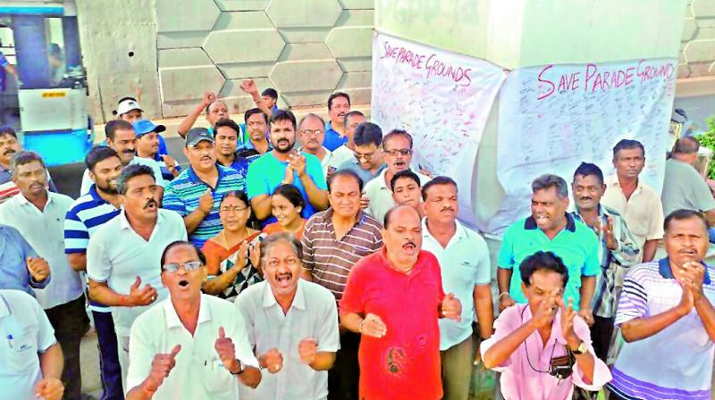 Walkers, health enthusiasts, sportspersons attend the signature campaign 'Save Parade Ground' on Friday. On a weekday close to 2,000 Hyderabadis use the ground in the morning and evening, while over the weekend the number doubles. (Photo: DC)