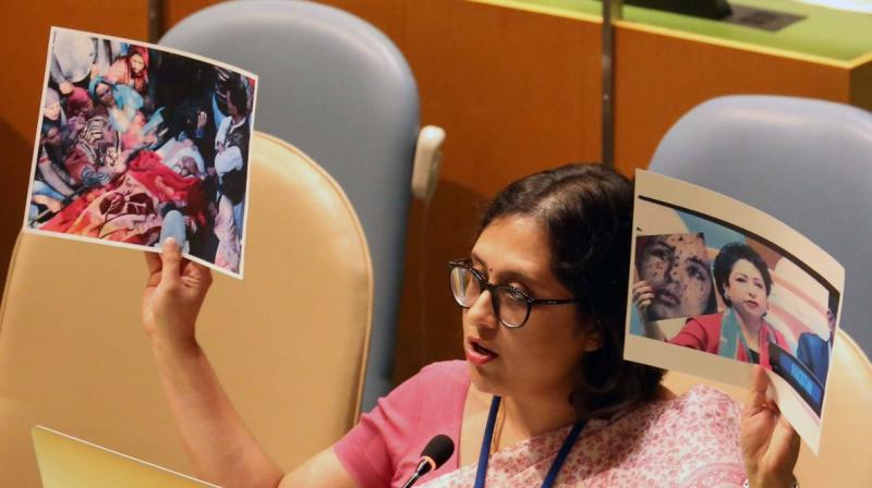 First Secretary in India's Permanent Mission to the UN Paulomi Tripathi was responding to Pakistani envoy Maleeha Lodhi's remarks at the session that the struggle of the Kashmiri people for their right to self-determination has been suppressed for decades. (Photo: File)