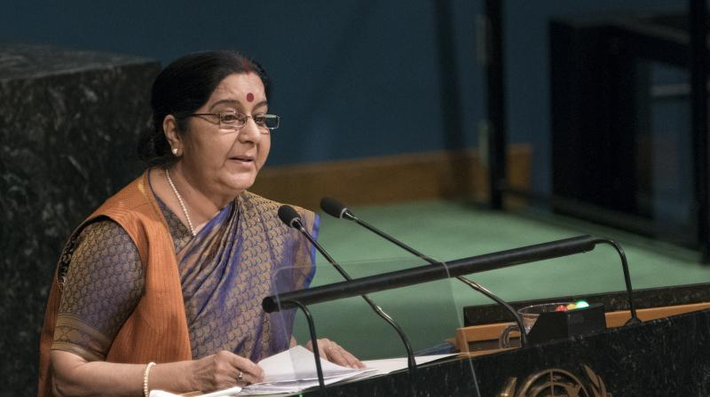 External Affairs Minister Sushma Swaraj in UNGA said, 'India and Pakistan became free within hours of each other. Why is it that today India is a recognised IT superpower in the world, and Pakistan is recognised only as the pre-eminent export factory for terror?' (Photo: AP)