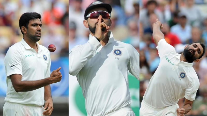 While Virat Kohli's mic-drop to celebrate Joe Root's wicket was a talking point, R Ashwin's four-wicket haul and Mohammed Shami chipping in with three wickets helped India restrict England to 287 in the first innings of the first Test in Birmingham. (Photo: AP)