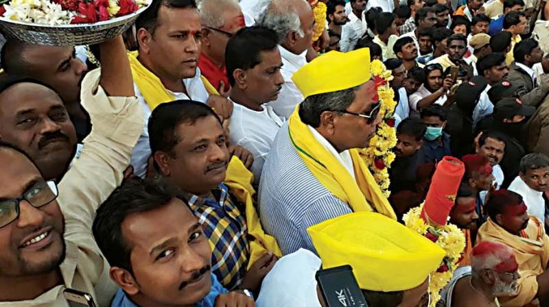 Former CM Siddaramaiah at Banashankari Devi Jatra Mahothsava at Badami in Bagalkote on Monday  (Photo: KPN)