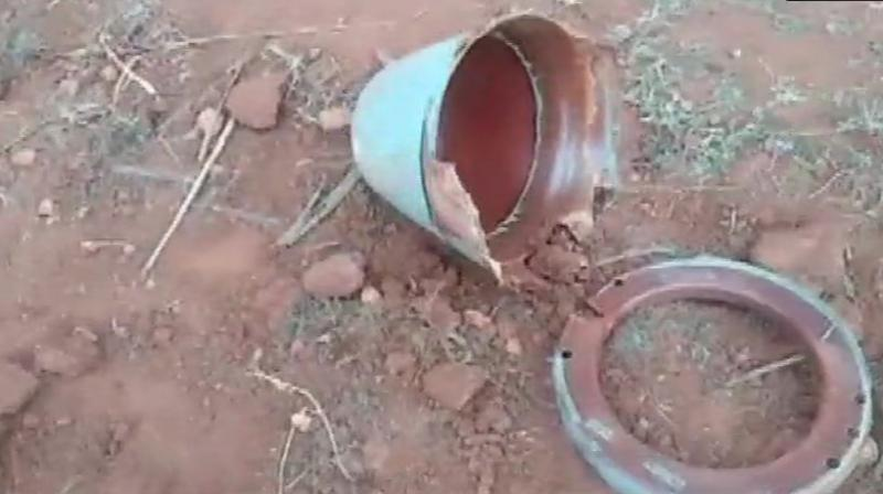 Fire was reported from where the fuel tank fell on the ground and caused a three-foot deep crater. (Photo: ANI | Twitter)