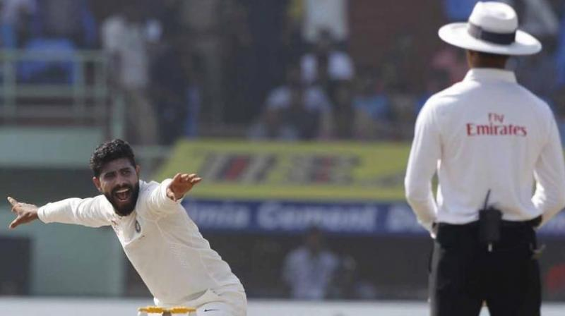Ravindra Jadeja picked up four wickets in the innings, as he dismissed Shaun Marsh. (Photo: BCCI)