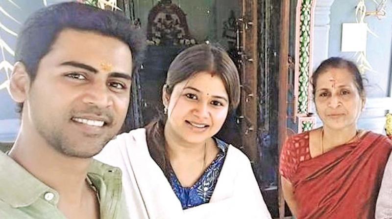 Sangeetha with husband Krish and mother Bhanumathi.