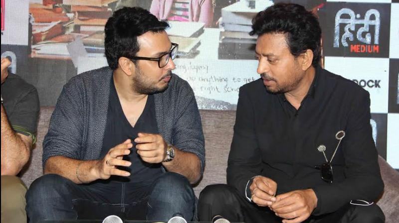 Dinesh Vijan and Irrfan Khan at the trailer launch on Thursday.