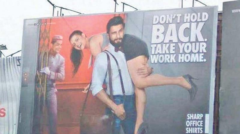 Ranveer Singh advertisement where a woman was slung over his shoulder.