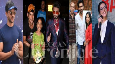 Bollywood celebrities like Hrithik Roshan, Kartik Aaryan, Taapsee Pannu, Sushant Singh Rajput, Kiara Advani, Madhuri Dixit-Nene and others were snapped in the city. (Photos: Viral Bhayani)