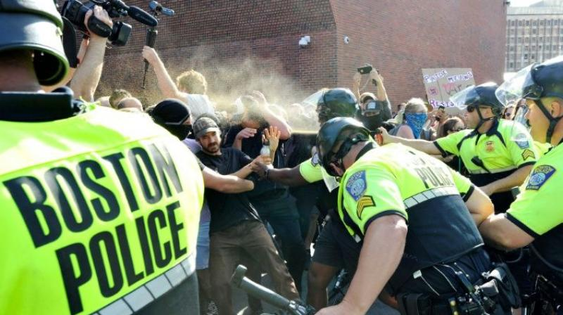 The demonstrations came as tensions simmer between leftists and white nationalists across the United States, and critics of Trump say his rhetoric has fueled extremism. (Photo: AFP)