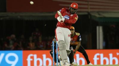 he 'Gayle storm' seems to continue as Chris Gayle has already scored 27 runs, with three sixes and one four. (Photo: BCCI)