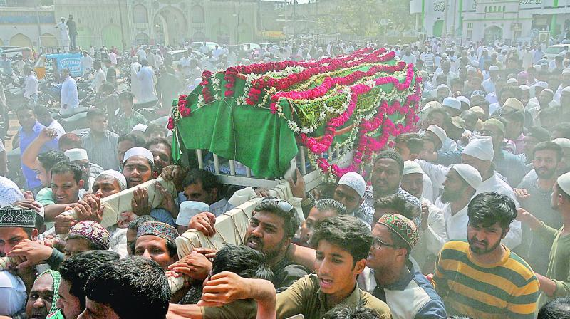 The funeral of New Zealand terror attack victim, Uzair Khadir, whose body's arrived on Saturday, was attended by many on Sunday.  (Photo:DC)
