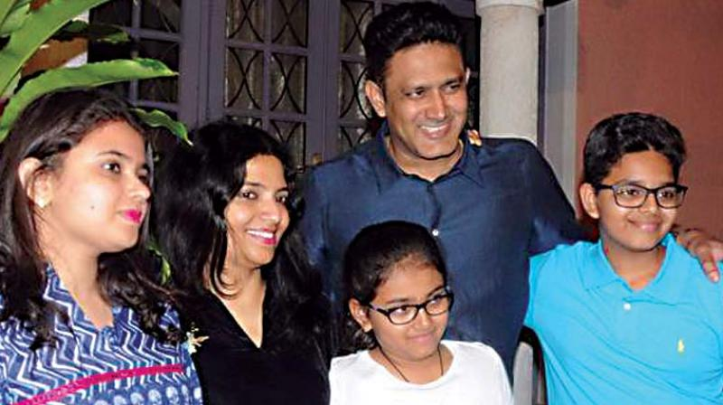 (File pic) Anil Kumble with his family
