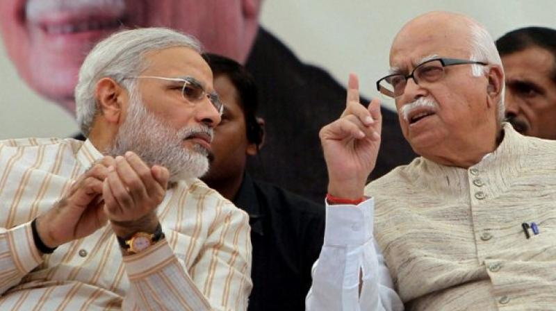 Describing Lal Krishna Advani as a 'statesman', Prime Minister Narendra Modi on Friday extended his birthday greetings to the BJP stalwart on his 92nd birthday and said that India will always cherish his exceptional contribution towards empowering the people of the country. (Photo: File)