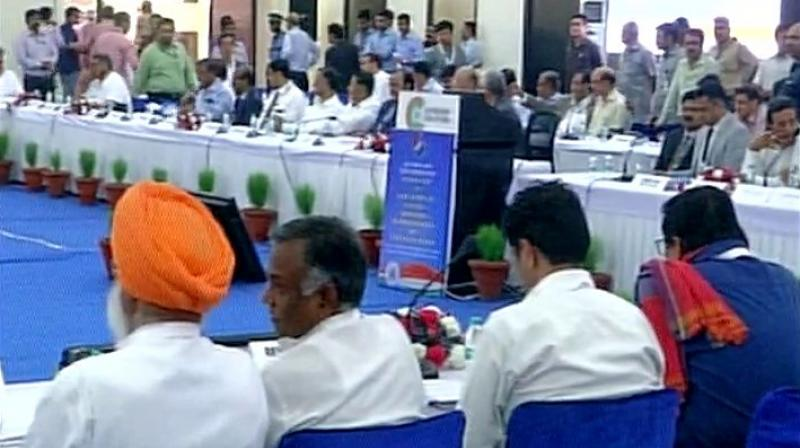 Election Commission holds an all-party meeting regarding EVM issue and other electoral reforms in Delhi on Friday. (Photo: ANI Twitter)