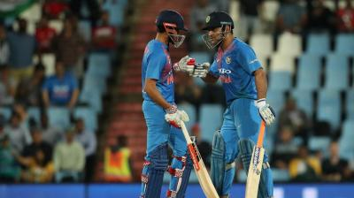 Manish Pandey and MS Dhoni scored unbeaten fifties as India scored 188 runs after put in to bat in the second Twenty20 international against South Africa in Centurion on Wednesday. (Photo: BCCI)