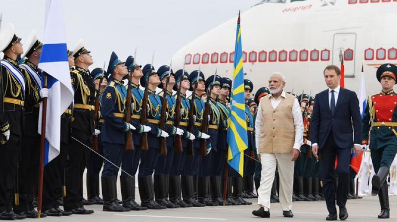 He received a guard of honour at the Vladivostok International Airport in the presence of Russia's Deputy Foreign Minister Igor Morgulov. (Photo: Twitter | @narendramodi)