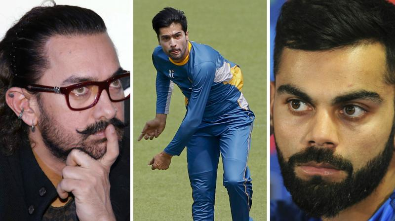 """""""In the recent times, Mohammad Amir of Pakistan (keeps him on his toes). He is in the top two or three bowlers in the world and the toughest bowlers I have played in my career,"""" said India skipper Virat Kohli as he appeared on a chat show along with Bollywood superstar Aamir Khan. (Photo: PTI / AP)"""