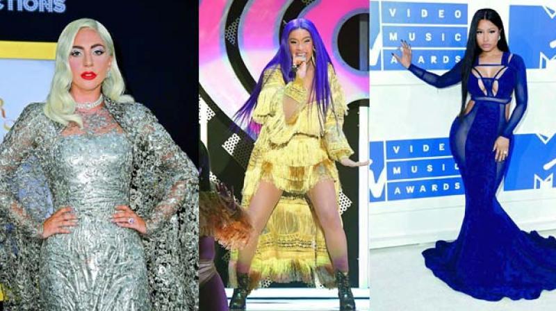 Lady Gaga, Rapper Cardi B and Nicki Minaj