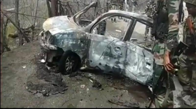 An explosion took place in a car here on Saturday near Banihal town of Ramban. (Photo: ANI)