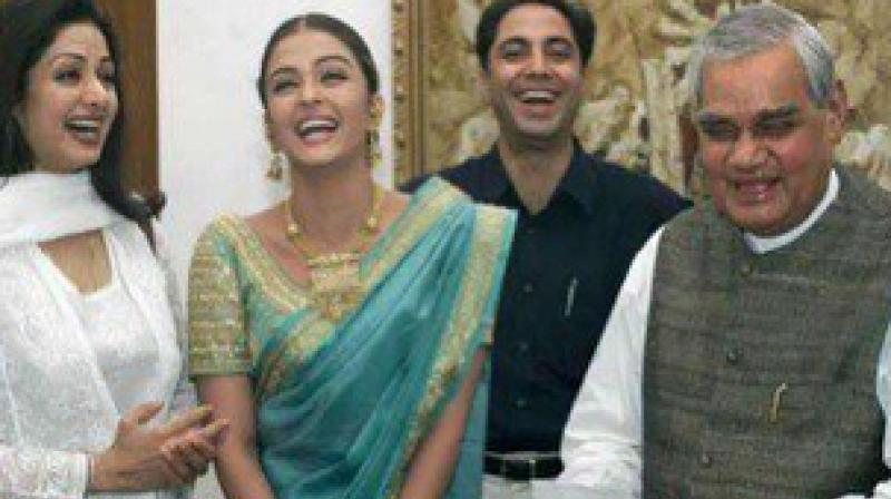 Picture with Atal Bihari Vajpayee and Sridevi that Aishwarya Rai Bachchan shared on Instagram.