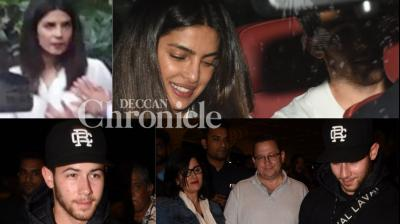 Recently-engaged couple Priyanka Chopra and Nick Jonas were spotted in Mumbai on Sunday. (Photos: Viral Bhayani)